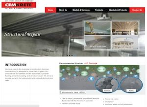 Showcase: Cemkrete - Corporate Web Site - Construction Chemical Manufacturing Malaysia