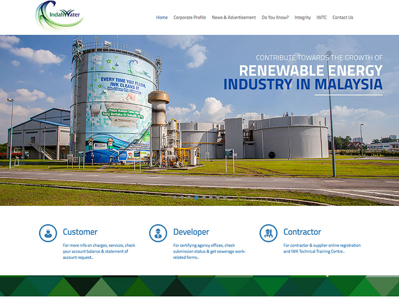 Web Design and CMS - Indah Water Konsortium - National Sewerage Services Company Malaysia