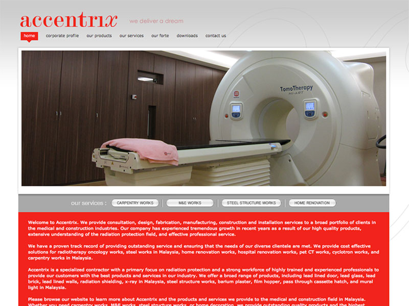 Professional Web Design - Accentrix - Consultation Services in Medical & Construction Industries Malaysia