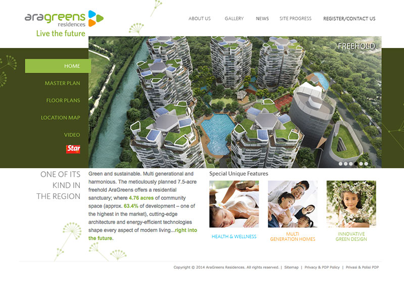 Professional Web Design - AraGreens Residences - Live the future at Ara Damansara Malaysia