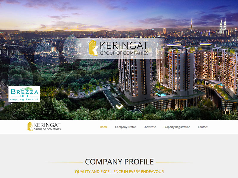 Professional Web Design : Corporate Property Web Site : Keringat Group of Companies Malaysia
